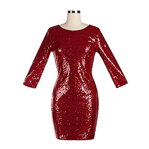 BAINASIQI Damen Sexy Paillettenkleid Minikleid Kurz Cocktailkleid Partykleid Abendkleid mit Rückenfrei V-Ausschnitt Design (Rot, XL) - 4