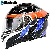 JohnnyLuLu Modularer Bluetooth-Klapphelm für Motorräder, Motorrad Integralhelm Sturzhelm mit Anti-Fog-Doppelvisier-Multifunktionshelm für Männer, integriertem Headset-Lautsprecher und Mikrofon,A,XXL