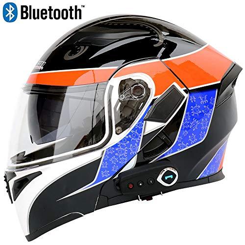 JohnnyLuLu Modularer Bluetooth-Smart-Motorradhelm mit Antibeschlag-Doppelspiegel, offenem D.O.T-Vollgesichts-Klapprad-Schutzhelm,A,XXL