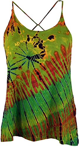 Guru-Shop Batik Hippie Top, Damen, Grün, Synthetisch, Size:38, Tops, T-Shirts, Shirts Alternative Bekleidung (Hippie Top Shirt)