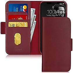 """FYY Etui Coque iPhone 11, [Véritable Cuir de Vache] [RFID] Etui Portefeuille Fabriqué à la Main avec [Fonction de Support] pour Apple iPhone 11 6.1"""" 2019 Rouge Vin"""