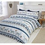 Navidad corazones 100% franela de algodón edredón funda de edredón y funda de almohada ropa de cama juego de cama, azul/Multicolor, único