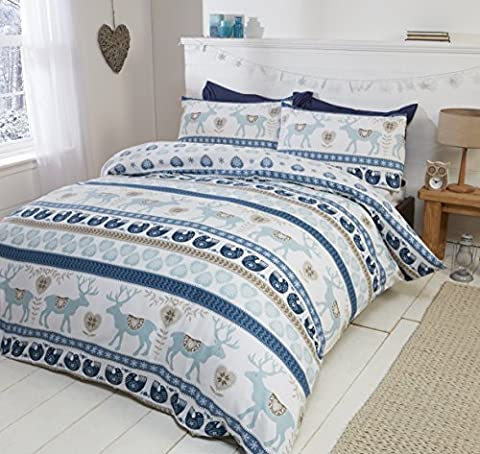 Scandi 100% Brushed Cotton Flannelette Quilt Duvet Cover and 2 Pillowcase Bedding Bed Set, Blue/Multi-Colour,