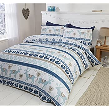 Scandi 100% Brushed Cotton Flannelette Quilt Duvet Cover and Pillowcase Bedding Bed Set, Blue/Multi-Colour, Single
