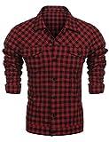 Burlady Herren Freizeit Hemd Kariert Drucken Kontrast 100% Baumwolle Trachtenhemd schwarz und rot L