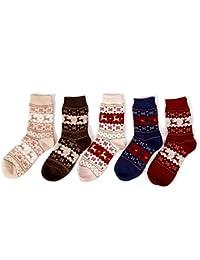 Wuiyepo 5pcs unisexe / pack multicolore Noël Chaussettes en laine d'hiver de lapin laine Bas chaudes