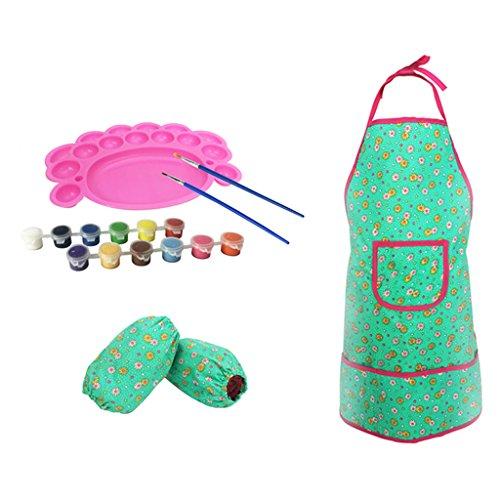 D DOLITY Malerei Kittel Schürze mit Schutzärmel Palette Pinsel Farben Malwerkzeuge für Kleinkind - DIY Zeichnung Tools für Alter 2-8 Jahre Kinder - # B (Kittel Für Malerei)