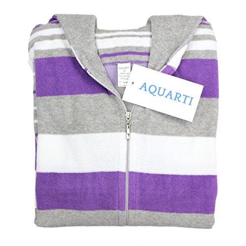 Aquarti Damen Bademantel Gestreift mit Kapuze Violett