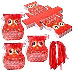 Idea Regalo - Gudotra 50 Scatoline Portaconfetti Laurea Kraft Gufo per Matrimonio Battesimo Compleanno +100 Nastri Rossi Bomboniere Scatole Confetti Caramelle (Stile 4)