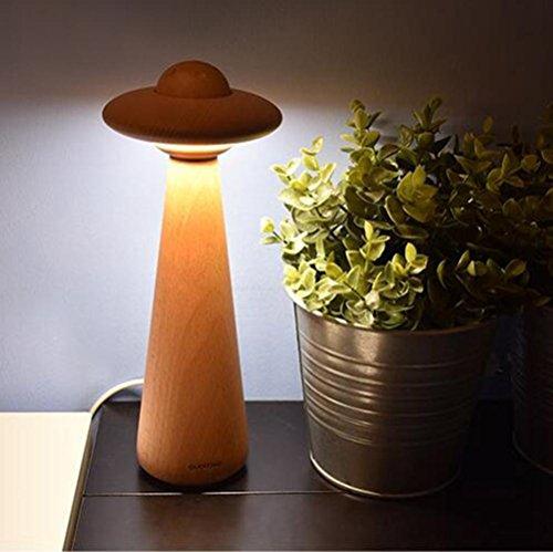 YUSHI Kreative UFO Nachttischlampe Schlafzimmer Warm Holztisch Lampe UFO Lesen Schreibtischlampe Knob Dimmen Nachtlichter -
