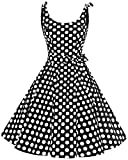 bbonlinedress 1950er Vintage Polka Dots Pinup Retro Rockabilly Kleid Cocktailkleider Black White Big Dot 2XL