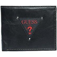 Guess Hombres de negro y rojo de piel Passcase doble Billetera Tarjeta de crédito cartera