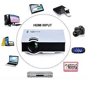 Gearmax® Portable Mini MultiMedia 800 Lumens 800*480 Full HD LED Projektor Theater Privat Kino Cinema 55W Unterstützung HDMI VGA AV Video Movie Game für Home