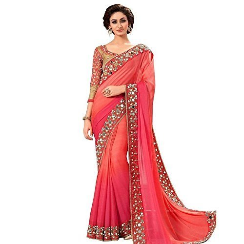 jashvi creation Faux Georgette Saree With Blouse Piece(Mirrarred_Red Free Size)