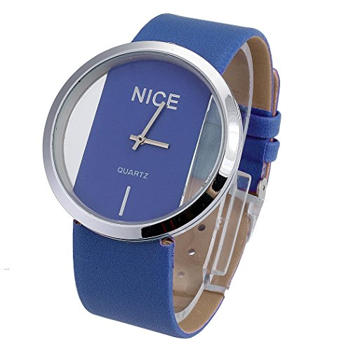 Aulei Armband Uhr Damen PU Leder Quarzuhr Vorwahlknopf Transparent Hohl Glas-seitige Accessories Mode Blau