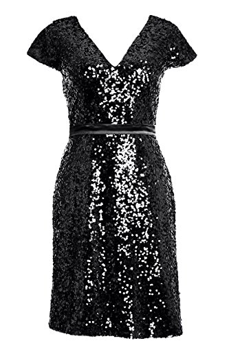 MACloth Elegant Cap Sleeve Sequin Bridesmiad Dress Cocktail Party Formal Gown Black