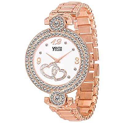 Youth Club CH-LVECPR New Rose Gold Studded Dial Case Watch for Girls