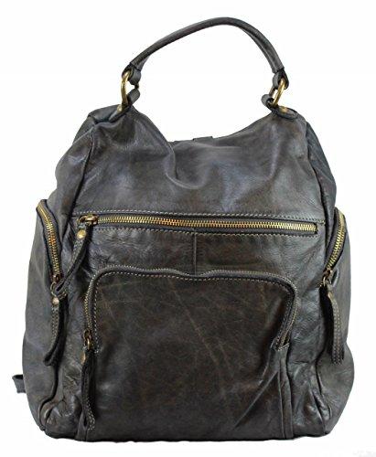 BZNA Bag Stefano grey Backpacker Designer Rucksack Damenhandtasche Schultertasche Leder Nappa sheep ItalyNeu