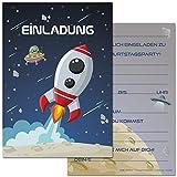 Gepard Solutions 12 Einladungskarten im Set zum Kindergeburtstag mit Motiv Rakete, Weltraum, Weltall, Raumschiff. Einladungen zum Geburtstag für Jungen und Mädchen (12 Einladungen)
