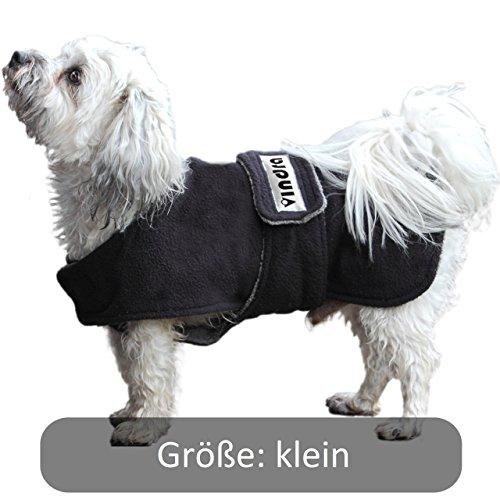 VINDRA Hunde-Bademantel - Fleece schnelltrocknend - Hundemantel - 3 Größen - Hals und Brust verstellbar