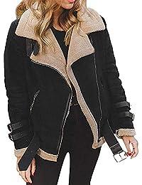 VJGOAL Invierno de Las Mujeres de la Manera Ocasional Cálido Faux Fur Fleece Faux Suede Cordero Abrigo Outwear Clásico Salvaje Solapa Biker Motor Aviator Chaqueta