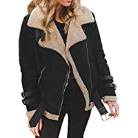 Hanomes Damen pullover, Winter Frauen Faux Pelz Fleece Mantel Outwear Warme Revers Biker Motor Aviator Jacke preisvergleich bei billige-tabletten.eu