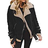 OverDose Damen Kurzmantel Offene Jacke Damen Faux Wildleder Warme Jacke Zipper Up Vorne Mantel Outing Soft Outwear mit Taschen(Schwarz1,EU-32/CN-S)