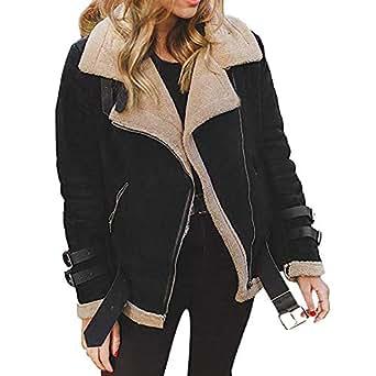 389feef9718 Image Unavailable. Image not available for. Colour  KaloryWee Autumn Winter  2018 Sale Winter Women Fleece Coat Outwear Warm Lapel Biker Motor Aviator  Jacket
