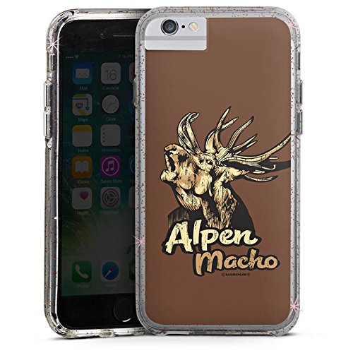 Apple iPhone X Bumper Hülle Bumper Case Glitzer Hülle Deer Hirsch Alpen Macho Bumper Case Glitzer rose gold