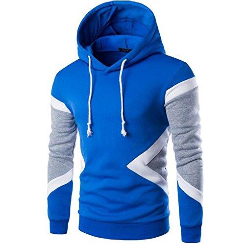 Glestore Sweat-shirt Capuche et Slim Fit Hoodies Homme Col rond Manches Longues Bleu L