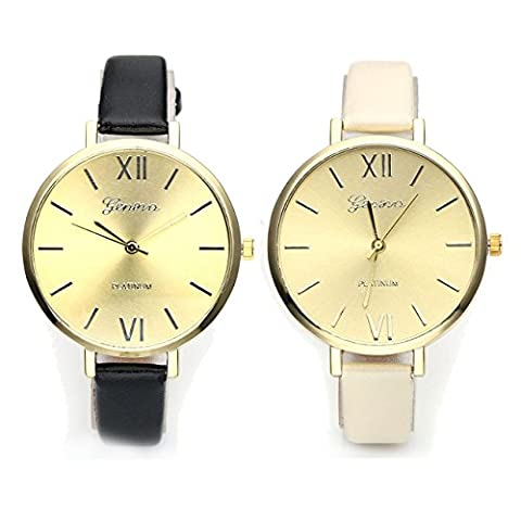 JSDDE Fashion Simple Watch for Women, Light Gold Face, Black/Creamy