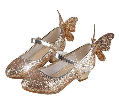 Brinny Mädchen Prinzessin Schuhe Glitter Paillette Kostüm Ballerinas Heels Schuhe Schmetterling Pumps festliche Hochzeit, Or - 33 (Prinzessin Glitter Kostüme)