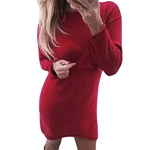Briskorry Damen Pullover Kleider Winterkleider Kleid Langarm Strickkleider Frauen Mode Knielang...