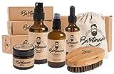 Bartmanie 5 teiliges Bartpflege Set bestehend aus Bartshampoo (100ml), Bartwuchsspray (50ml), Bartwachs (50ml), Bartöl (50ml) & Bartbürste, Geschenkset für Männer