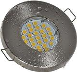Badezimmer Einbaustrahler IP65 | Farbe Edelstahl gebürstet | 12V GU5.3 MR16 12V 4,5Watt LED warmweiß 2700 Kelvin 380 Lumen | Lampenfassung mit Anschlusskabel inklusive