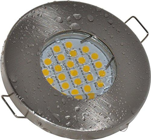 Salle de bain Spot IP65| couleur acier inoxydable brossé | 12V GU5.3MR1612V AC/DC 5W LED blanc chaud 2700K 450lumens | Douille de lampe avec câble de raccordement inclus