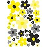 easydruck24de Blumen-Aufkleber-Set Blümchen Schwarz-Gelb I kfz_284 I Flower-Power Sticker für Fahrrad Laptop Handy Küche Bad Fahrzeug-Aufkleber I Wetterfest