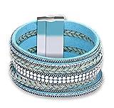 Gnzoe Bijoux Femme Acier Inoxydable Bracelets Élégant Multilaye Rouge Bleu 20.2CM