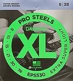 D'Addario Cordes pour guitare électrique D'Addario ProSteels EPS530, Extra-Super Light, 8-38