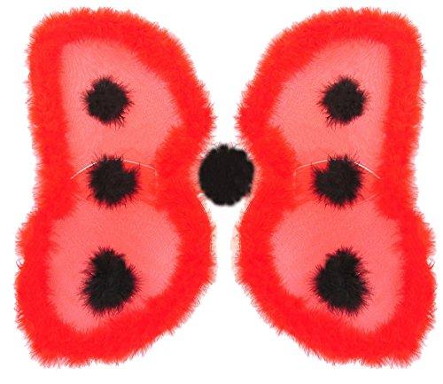 Marienkäfer Flügel zum Kostüm mit Marabou Federn 56 x 50 cm - Rot