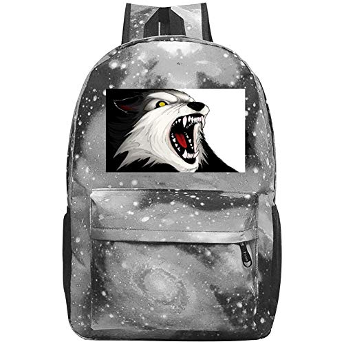 dsgsd Schultasche Howling Wolf Head Casual Large-Capacity Star Backpack Unisex Travel Bag Gray -
