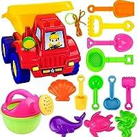 GUOGUO 14pcs Kids Beach Toy Set Shovels Rakes Watering Pot Dump Truck Animals Mould Toys, Color Random