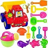 YAVSO Sandspielzeug, 14er Sandkasten Spielzeug Strandspielzeug mit Sandform, Eimer, Schaufel für Mädchen Junge Kinder Kleinkind Baby
