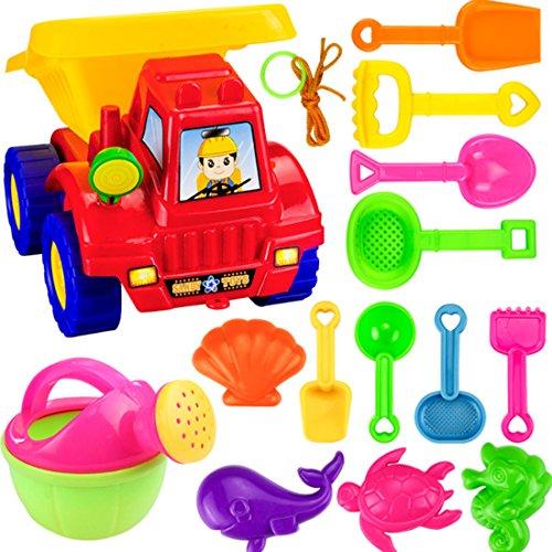 GODNECE 14-TLG Strandspielzeug Kinder Schaufeln LKW Sandkasten Spielzeug Sandspielset Sand und Wasser Spielzeug Set für Kinder