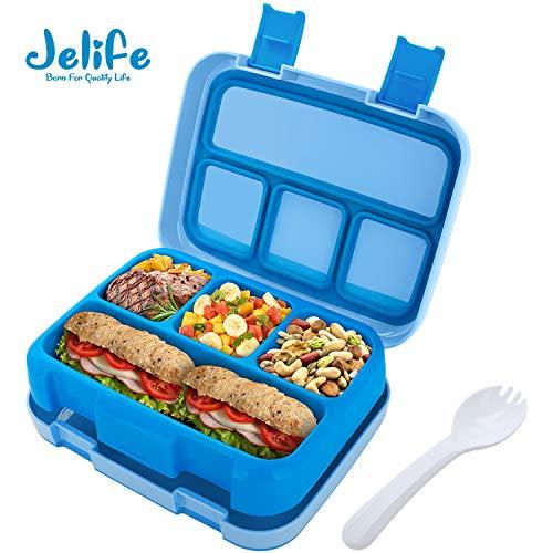 Jelife Bento Box Kids Brotdose Lunchbox Kinder für Schule Picknick Ausflug mit 4 Unterteilungen auslaufsicher