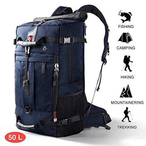 CANSHN 50L 3in1 großer Multifunktion Wanderrucksack Rucksack Herren für Outdoor Camping Reise mit trekkingrucksack (Blau)