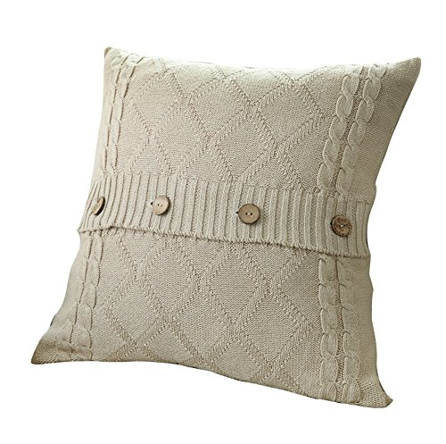 VClife® Baumwolle Zierkissenbezug 45*45cm Gestrickt Kissenbezug Sofa Büro Dekokissen Zimmer Auto Bettkissen Kissenhülle Knopf Beige