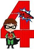 wolga-kreativ Applikation Geburtstag Zahl 4 Superheld Super Held Bügelbild zum selbst Aufbügeln Geburstagsshirt