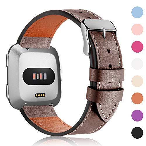 HUMENN Armband Für Fitbit Versa/Fitbit Versa Lite, Echtleder Ersetzerband Verstellbares Zubehör Uhrenarmband mit Edelstahlschnalle Für Fitbit Versa, Große Taupe