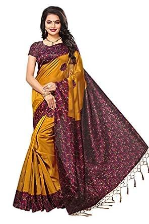 Applecreation women's art silk saree with blouse piece (SRJK054_Yellow_Free Size)